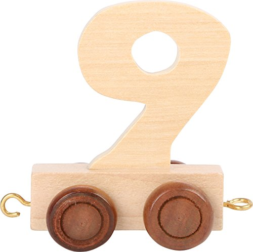 Buchstabenzug | Geburtstags Zahlen und Waggon mit Kerzenhalter | Holzeisenbahn | EbyReo® Namenszug aus Holz | personalisierbar | Geburtstag oder als Deko für den Geburtstagstisch (Zahl 9)