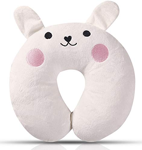 Bunny Animal Neck Pillow For Kids ,Soft U-shape Plush Toddler Car Seat Pillow And Kid's Airplane Neck Support Pillow,Cute 3D Embroidery, Comfortable in Any Sitting Position for Airplane,Car,Train,Bus