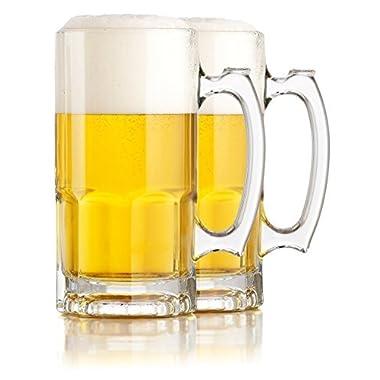Hikari One Liter German Style Extra Large Glass Beer Stein Super Mug, 34 Ounce (2 Pack)