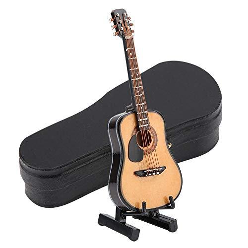 FTVOGUE Mini Gitarre Modell Ornamente Handwerk Holzgeschenke Spielzeug Wohnkultur mit Aufbewahrungsbox Handgefertigt(10CM)