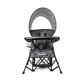 Baby Delight Go with Me Venture Deluxe Portable Chair | Carbon Camo 8 Polyester fabric resists fading, stains, & mold Can be used indoors or outdoors Equipped with sun canopy
