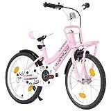 Susany Kinderfahrrad mit Frontgepäckträger Mädchenfahrrad Kinder Fahrrad 18 Zoll Rosa und Schwarz