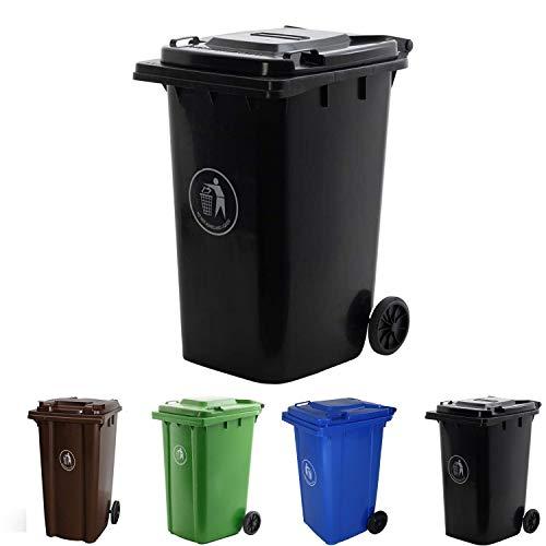 Dawsons Living Black Wheelie Bin - Outdoor Wheel Bin for Trash and Rubbish - Rubber Wheels - 240L