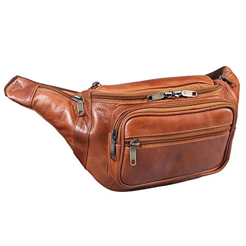 STILORD 'Maverick' Bolso riñonera Bandolera de Piel Estilo Retro Bolso de Cintura para Viaje de Hombres y Mujeres Bolsa de Cadera o cinturón de auténtico Cuero, Color:Cognac - Brillante
