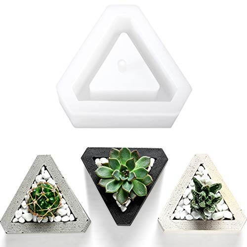 Concrete Planter Molds Silicone Ceramic Clay Mold Plant Pot Mold Resin Plant Mold Succulent Plants Concrete Planter Vase Molds DIY Handmade Craft Pizza Cake Jelly Microwave and Freezer Mould, Triangle
