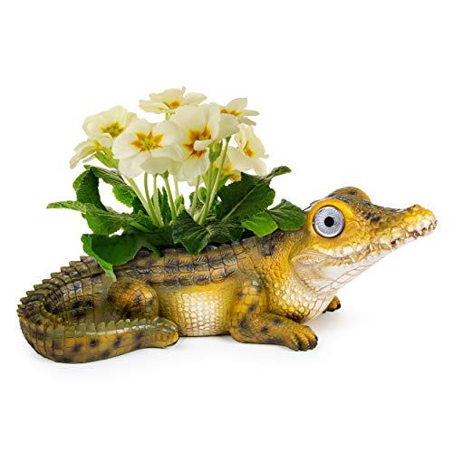 Alligator Planter Pot with Solar Eyes   Garden Patio Statue Decor - Yard Figurines   Outdoor Decorations for Deck and Pond   Weather Resistant LED   Cute Present   Auto On/Off - (Green)