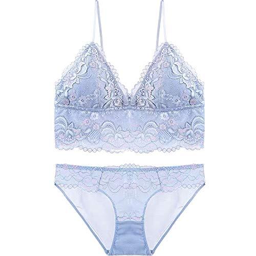 MGWA Conjunto de ropa interior sexy de encaje profundo V recolectado ultra delgado ropa interior de mujer sin llantas. Ajusta la forma del pecho sin hebilla (color azul, tamaño: 80 C = 34 C = 75 C)