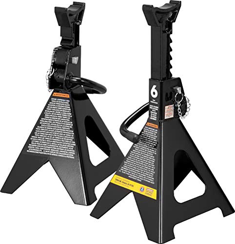 Torin 6 Ton (12,000 LBs) Capacity Double Locking Steel Jack Stands, 2 Pack, Black, AT46002AB