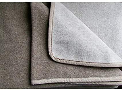 Alpenwolle Kaschmirplaid, Wolldecke, Tagesdecke doppelseitig beige/Mocca mit Kaschmir-Anteil (150x200cm)