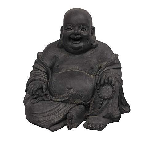 Figur Lachender Buddha sitzend - für Haus und Garten - Höhe 24 cm - schwarz