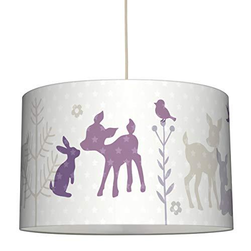 lovely label Hängelampe HÄSCHEN & REHE LILA/GRAU/BEIGE – Lampenschirm für Kinder/Baby, Schirm mit Rehkitz, Hasen und Sternen – Komplette Hängeleuchte für Kinderzimmer Mädchen & Junge