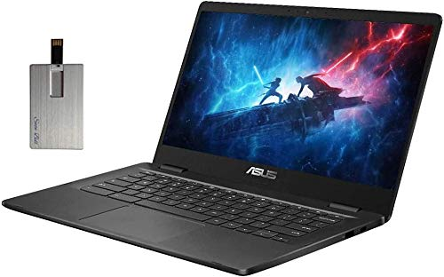 2020 ASUS 14' HD Chromebook Laptop Computer, Intel Celeron N3350 Processor, 4GB RAM, 32GB eMMC, Webcam, USB-C, Chrome OS, Grey, 32GB SnowBell USB Card