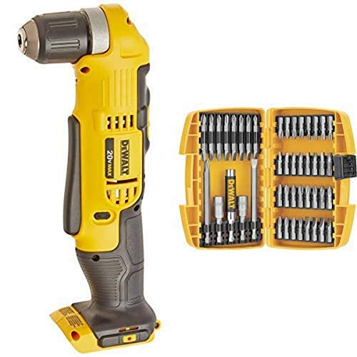 DEWALT DCD740B 20-Volt MAX Li-Ion Right Angle Drill (Tool Only) with DEWALT DW2166 45 Piece Screwdriving Set with Tough Case