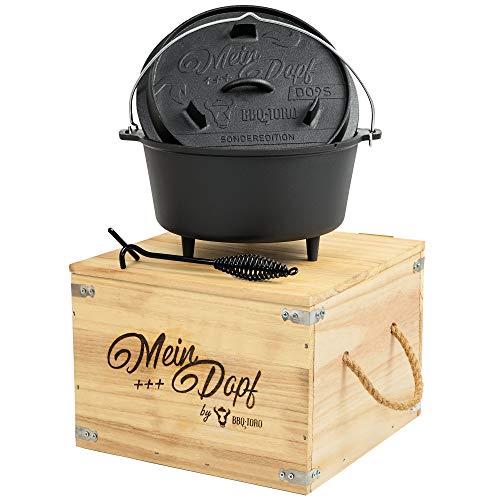 BBQ-Toro Dutch Oven ++ Mein Dopf ++ I Sonderedition mit Holzkiste und Deckelheber + kleine Überraschung I bereits eingebrannt - preseasoned I Gusseisen Kochtopf I Bräter mit Deckel