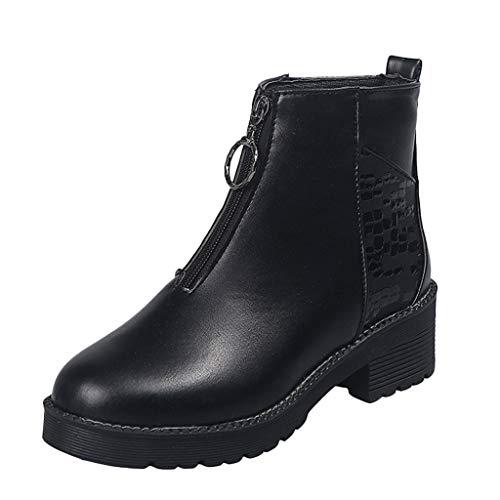 Damen Booties FGHYH Damen HochGanz Stiefel Mid-Reißverschluss Rutschfeste Lady Short Stiefel Mode Schuh Stiefelies(35, Schwarz)