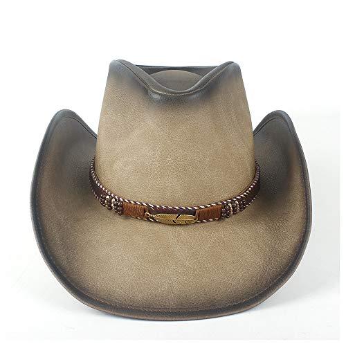 YIBANG-hat Chapeau de Cowboy Occidental for Femmes en Cuir Sombrero Hombre Jazz Caps, léger, Respirant (Couleur : Tan, Taille : 58-59)