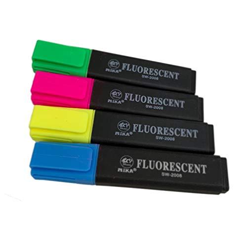 4 tlg. Textmarker Leuchtmarker Markierstift Farbstift Filzstifte Marker Set in Grün, Gelb, Pink und Blau