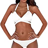 Damen Bademode Push Up Bikini Set Geteilter Badeanzug Crossover Neckholder Triangel Oberteil Bandeau Sexy Halter Strandmode Bademode Sport Zweiteiliger Badeanzug -