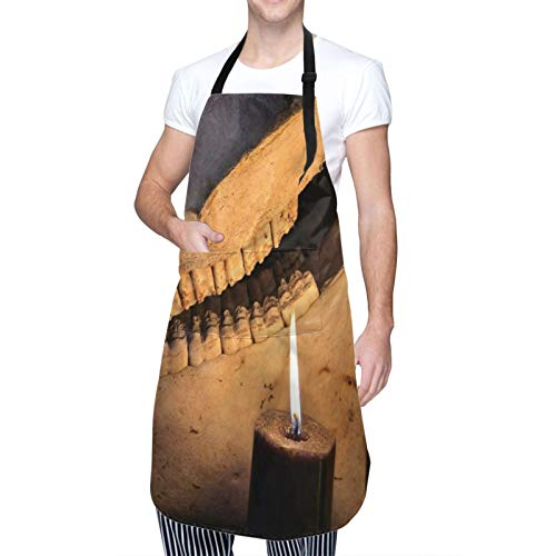 Adjustable Neck Hanging Personalized Waterproof Apron,Horror Halloween And Black Magick Concept Scary Teeth Of Horse Skull And Two Black Candles,Kitchen Bib Gown for Men Women with 2 Center Pockets