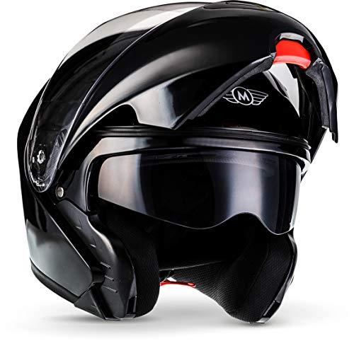 "MOTOHelmets® F19 ""Gloss Black"" · Motorrad-Helm · Klapp-Helm Modular-Helm Flip-up Integral-Helm Motorrad-Helm Roller-Helm Sport · ECE 22.05 Sonnenvisier Schnellverschluss Tasche M (57-58cm)"