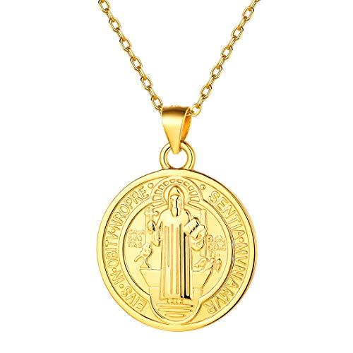 Collar Dorado Católico de Rezo Plata de Ley 925 Colgantes Circulares Pequeños de San Benito de Nursia
