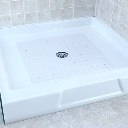 SlipX Solutions White Square Rubber Safety Shower Mat with Microban Antimicrobial Product Protection, Reliable Slip-Resistance in Shower Stalls (21 Inch Sides, Mildew Resistant, 140 Suction Cups)