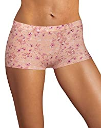 commercial Maidenform Ladies Boys Short Briefs Vintage Floral Spice Almond X-Large / 8 Size maidenform ladies underwear