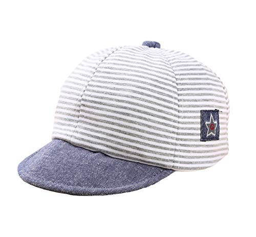 Baby Boy Baseball Cap Striped Sunhat Letter Sun Protection Hat,Sun Hat for Baby Boy and Baby Girl (Gray, 1pcs)