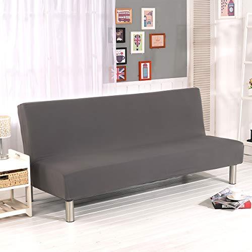 WINS Sofabezug ohne armlehnen 3 sitzer Sofahusse Ohne Armlehne Schlafsofa bezug futonbezug Stretch sofaüberwurf Grau