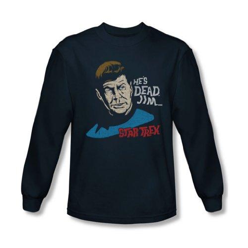 Star Trek - - Hommes Il est mort Jim shirt à manches longues dans la marine, Large, Navy