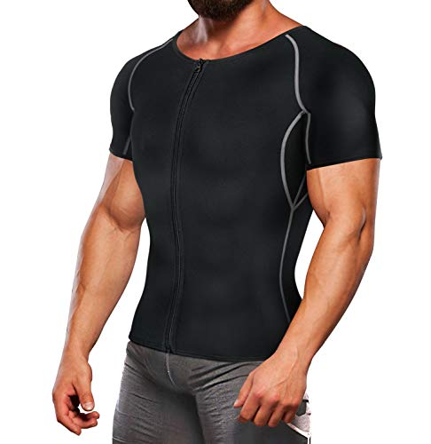 TAILONG Workout Suits for Men Weight Loss T Shirts Waist Trainer Sweat Top Sauna Hot Gym Jacket Body Shaper (Black, XL)