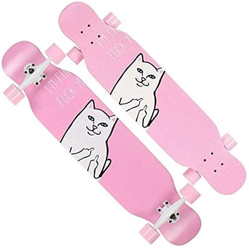 LFLLFLLFL Skateboard Monopatin Niños 7 Capas monopatín 42'Doble Warped Skate Board Cepillo Crucero Callejero para Principiantes Chicas niños niños Adolescentes Adultos (Color : B)
