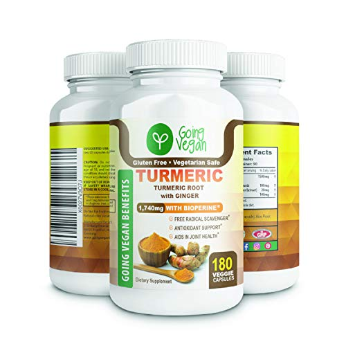 Turmeric Curcumin with Bioperine and Ginger Capsules, Black Pepper for Best Absorption, Made in USA, 180 Vegan Pills, Anti inflammatory Supplement, Plant-Based, 100% Organic, Natural Joint Pain Relief