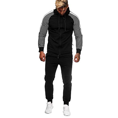 WUAI-Men Tracksuit Set 2 Piece Athletic Sports Suits Casual Sweatshirt Jogger Sweatpants Active wear Sweatsuit(Black,Medium