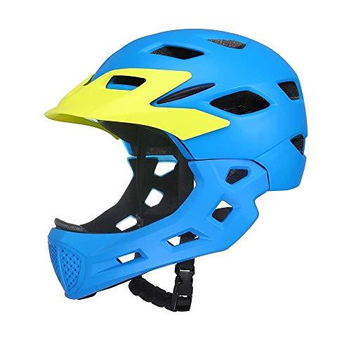 8bayfa Veiligheid Bescherming Kinderfiets Helm, Verstelbare Grootte Afneembare Kin Balance Auto Slide Veiligheid Helm, Berg en Road Ultralight Beschermende Gear (50~57cm) Unisex