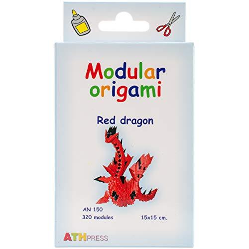 Origami Modular, Juego de 320 Piezas de Papel, dragón pequeño, Rojo