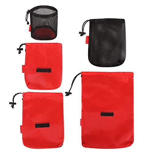 REDCAMP Stuff Sack Set of 5, Lightweight Mesh Nylon Drawstring Storage Bag Pouch for Travelling Hiking Red