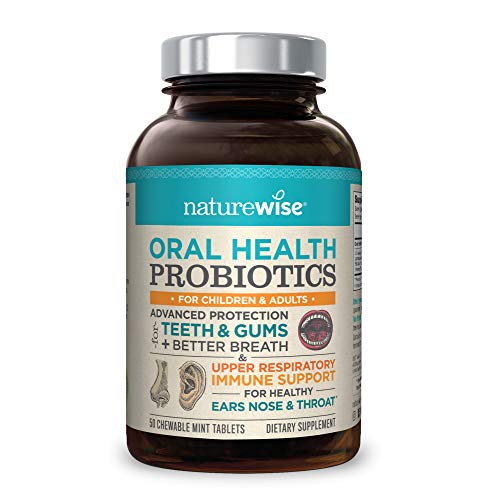 NatureWise Oral Health Chewable Probiotics | Supports Healthy Teeth, Gums, Better Breath | Ear, Nose, Throat Immunity for Kids & Adults | Sugar-Free Natural Mint Flavor [2 Month Supply - 50 Tablets]