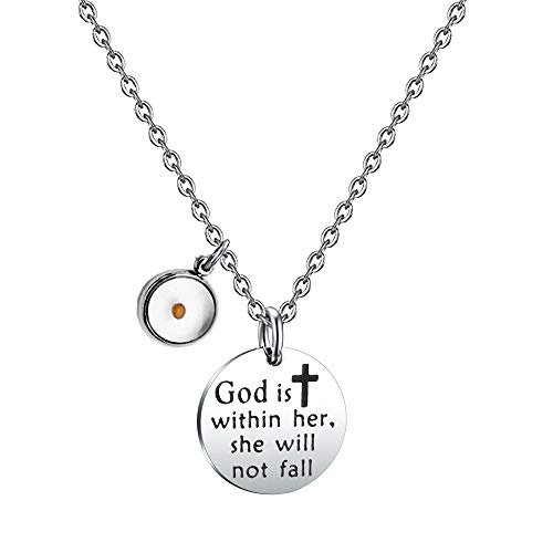 Mustard Seed Christian Gift God is within Her She Will Not Fall Necklace Psalm 46:5 Religious Jewelry (necklace)