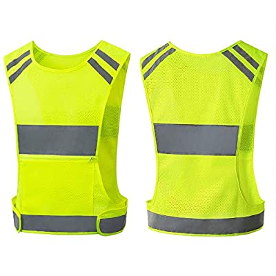 Reflective Vest Running Gear with Large Pocket, Adjustable & BreathableSafety Vest for Walking, Cycling, High Visible Running Vest for Night and Day