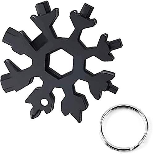 18 en 1 del copo de nieve en forma de tarjeta herramienta multipropósito acero inoxidable portátil compacto Destornillador de múltiples funciones con llavero para Reparar Varios Equipos