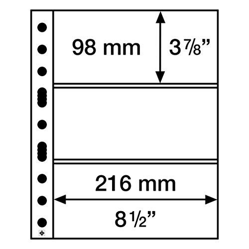 LEUCHTTURM Kunststoffhülle A4, 3 geteilt für z.B. Banknoten, 50er Pack