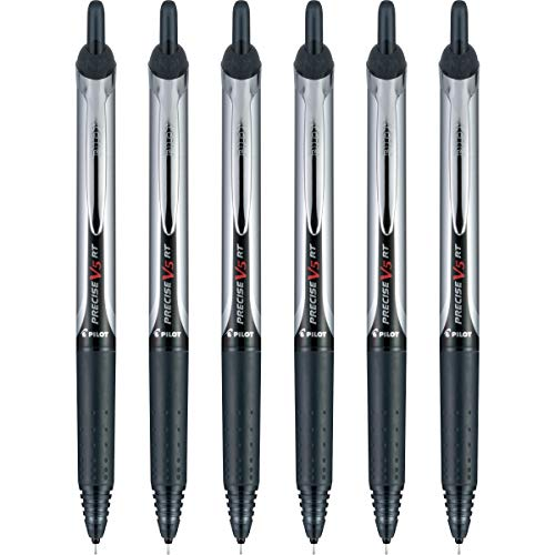 PILOT Precise V5 RT Refillable & Retractable Liquid Ink Rolling Ball Pens, Extra Fine Point, Black Ink, 6 Count (13613)