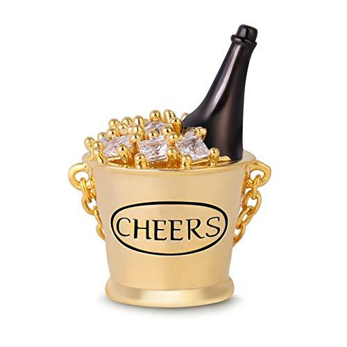 GNOCE 925 Sterling Silver Ice Beer Charm Pearl Con Cubo de Hielo Chapado En Oro Charms Colgante Saludos Esta Noche El Mejor Regalo Para Padre Amigo Hermano Hermana