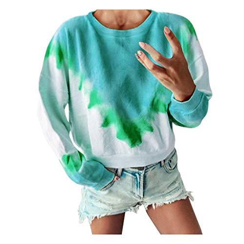 Top for Women Fashion 2020 Ladies Fashion Print Gradient Long Sleeve Sweater T-Shirt Top Green 4XL