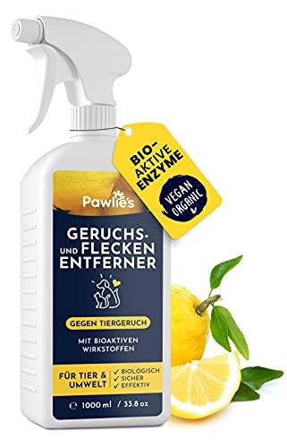 Pawlie\'s® Tier Geruchsneutralisierer - Geruchs- & Flecken-Entferner gegen Urin & Speichel von Hund & Katze - Haustier-Spray für Haus & Auto - 1L