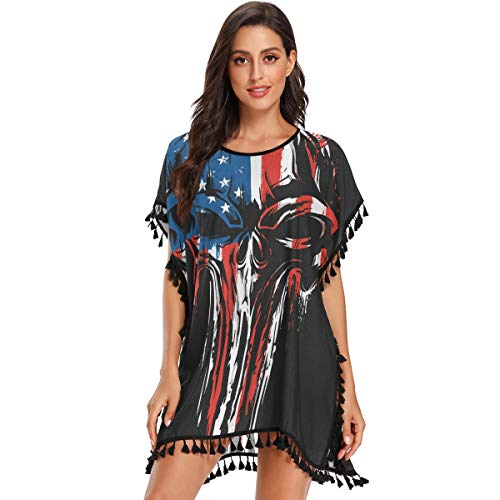 KLL Damen Chiffon Quaste Cover Up Kleid für Strand Badeanzug Bikini Badeanzug Sommer Cover Ups American Skull Small - - Medium