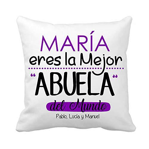 Kembilove Cojín Decorativo Personalizado de Abuela – Cojín Decorativo La Mejor Abuela con...