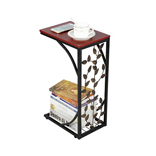 Yaheetech Antique Style Sofa End Table C-Shaped Coffee End Side Tables for Bedroom/Living Room/Office/Hallway