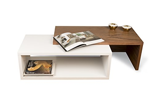TemaHome Jazz Table Basse, Noyer placage, Blanc, 90 x 45 x 33 cm